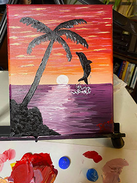 Sunset Palm Tree with Ocean and Dolphin Painting